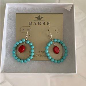 Turquoise Magnasite red Howlite gemstone earrings